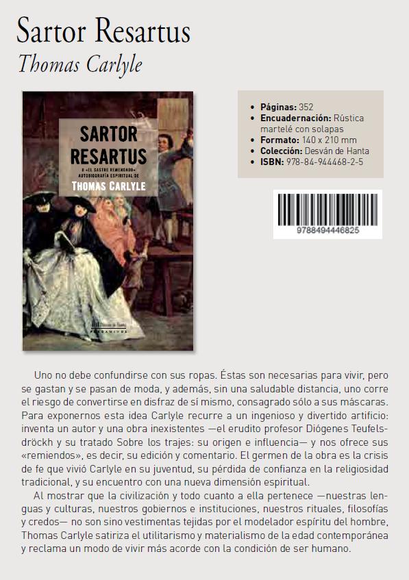 Sartor Resartus, el sastre remendado, de Thomas Carlyle. Colección Desván de Hanta editorial Biblok