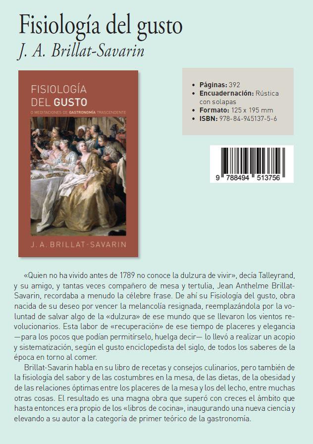 Fisiología del Gusto J.A. Brillat-Savarin Colección EverGreen Editorial Biblok